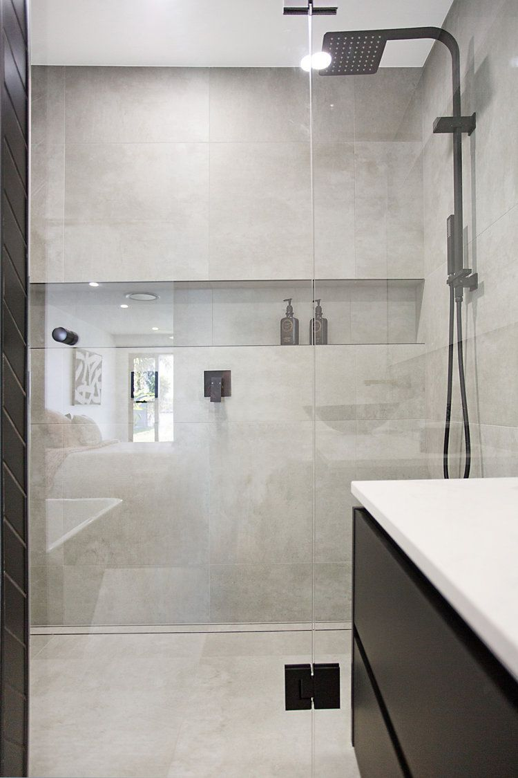 Double Shower With Matt Black Taps And Concrete Tiles Bathroom Remodel Designs Concrete Shower Concrete Tiles