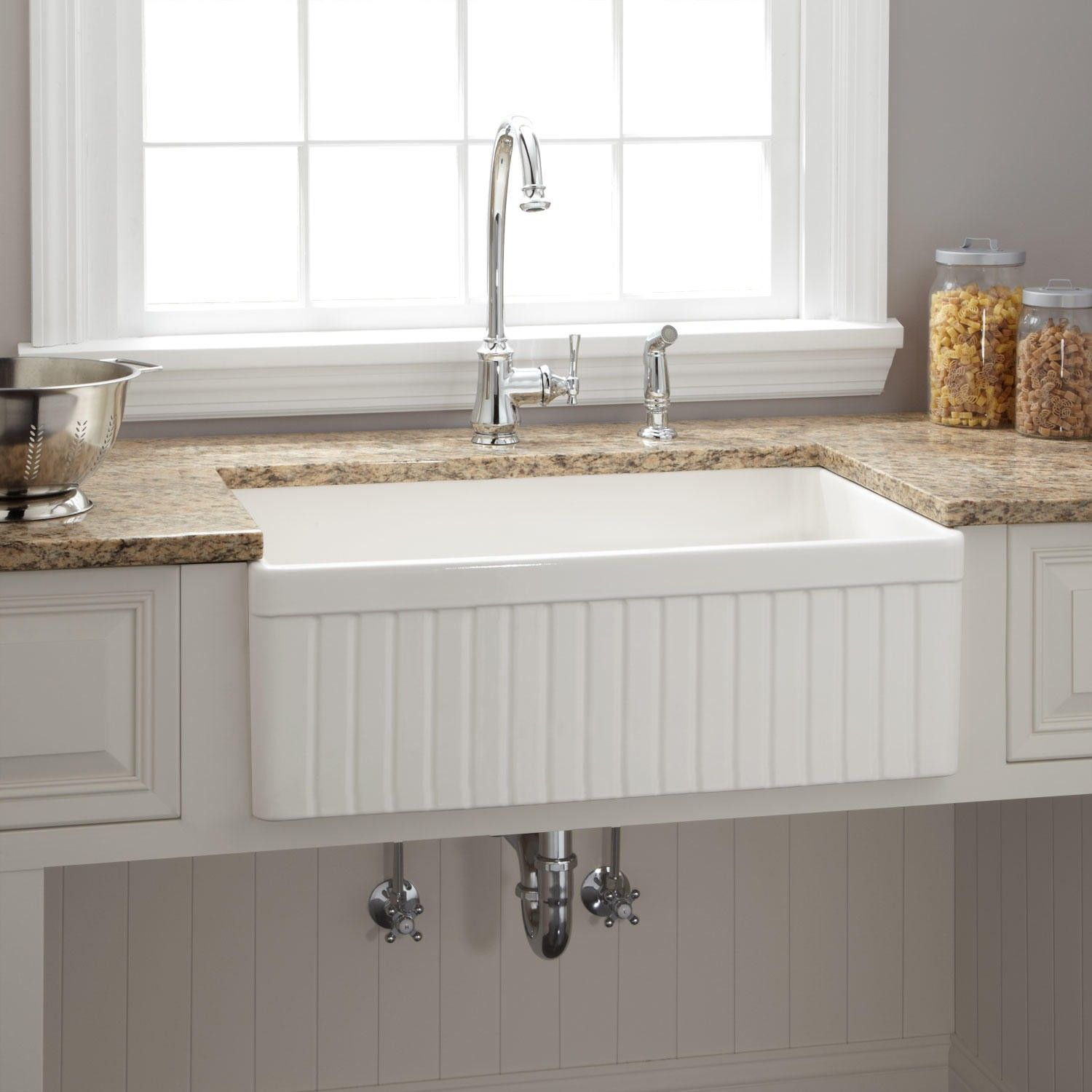 "30"" Baldwin Fireclay Farmhouse Sink Fluted Front"
