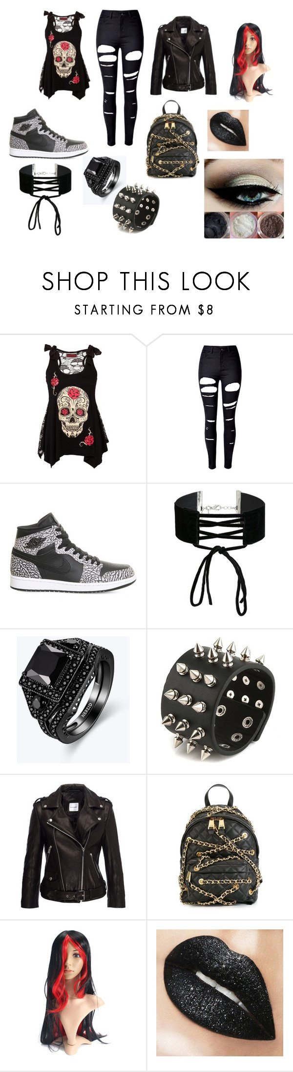 """""""Bad Girl"""" by emma-387 ❤ liked on Polyvore featuring WithChic, NIKE, Miss Selfridge, Anine Bing and Moschino"""