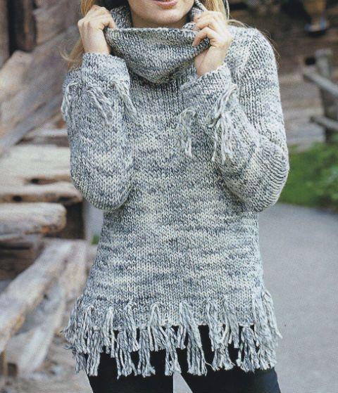 best service 8f448 74653 Maglione di lana melange con frange ai ferri | crochet ...