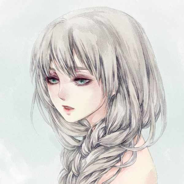 Anime Girl With Silver Hair And Green Eyes Pesquisa Google