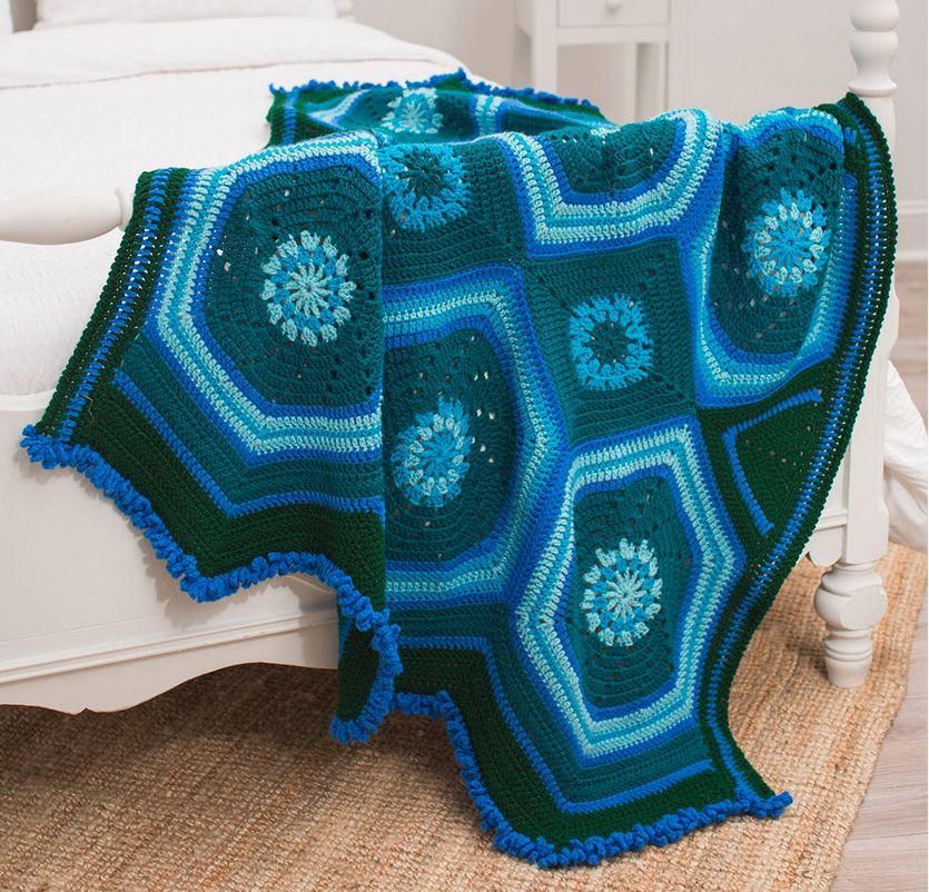 Moody Blues And Greens Throw Manly Crochet Afghan Patterns