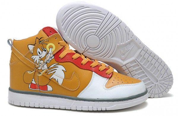 Cheap Nike Dunks High Top Women Sega Sonic Hedgehog Yellow Shoes For Sale