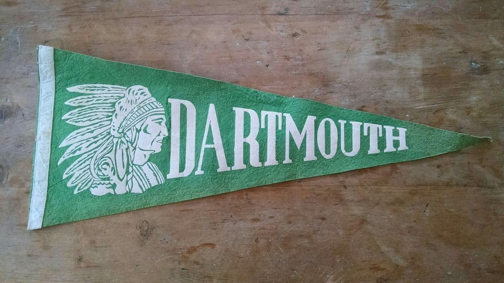 4cf9c40fc Vintage Dartmouth College Felt Indian Head Pennant white lettering ...