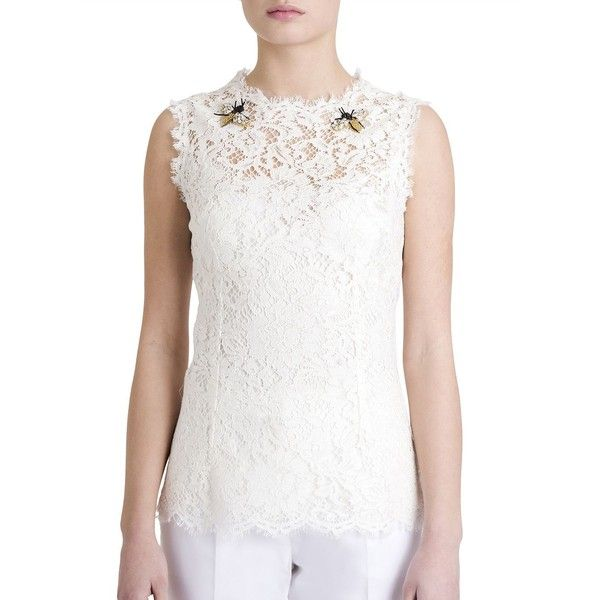 b4e1c1c24ffbdf Dolce & Gabbana Sleeveless Embroidered Lace Blouse ($2,035) ❤ liked on  Polyvore featuring tops, blouses, apparel & accessories, white, white  embroidered ...