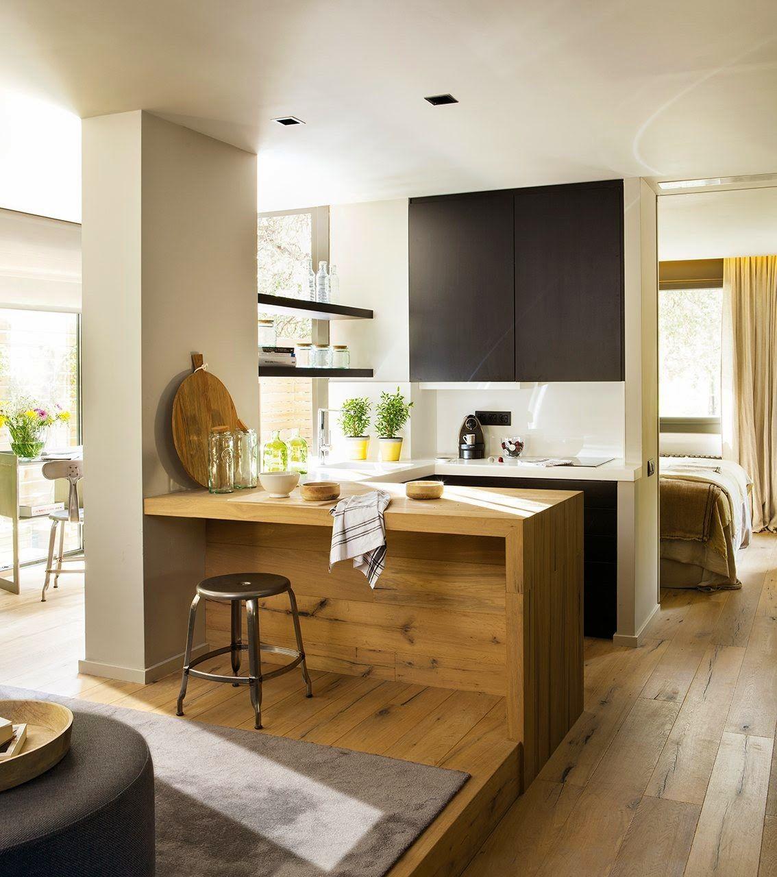 agencement astucieux d 39 un 50m2 cuisine fonctionnelle espace salon et m tre carr. Black Bedroom Furniture Sets. Home Design Ideas