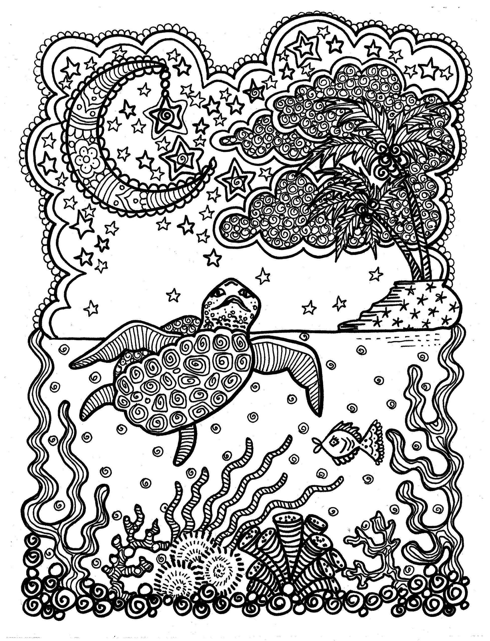 Sea Turtle Coloring Book for All Ages by Artist Deborah Muller ...
