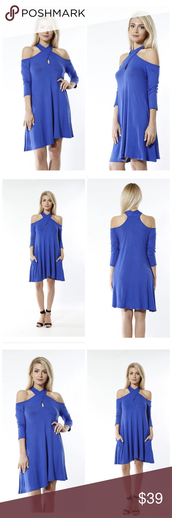 🔥Sale🔥Royal blue dress Royal blue dress. Fabric content 92% polyester 8% spandex. Made in USA 🇺🇸 . Model measurements (in) Size S, height 5'7, bust 34, waist 23, hips 35. Add to bundle to save Gali's Fashion Dresses Mini