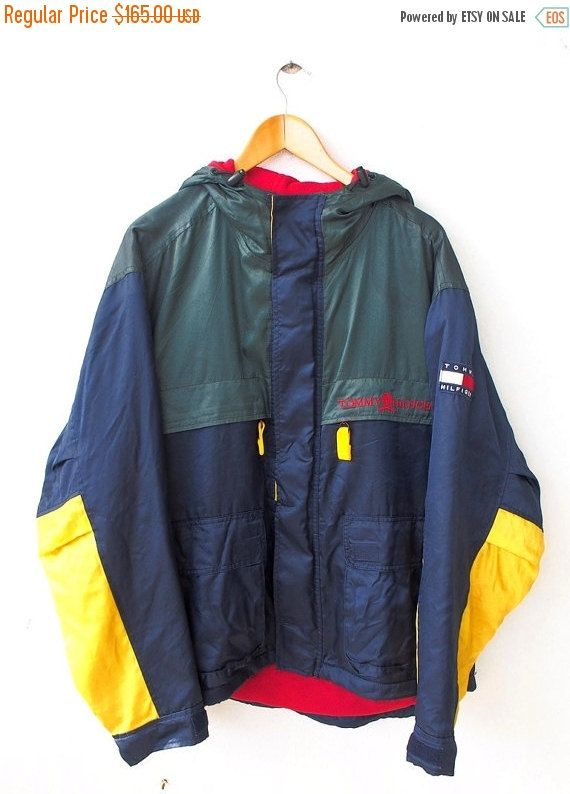 Vintage TOMMY Hilfiger Neon Green Hip Hop Snowbeach Streetwear Trainer  Hoodie Breaker Jacket 90s Size M Tag reads  M (check measurements 331df40fa8