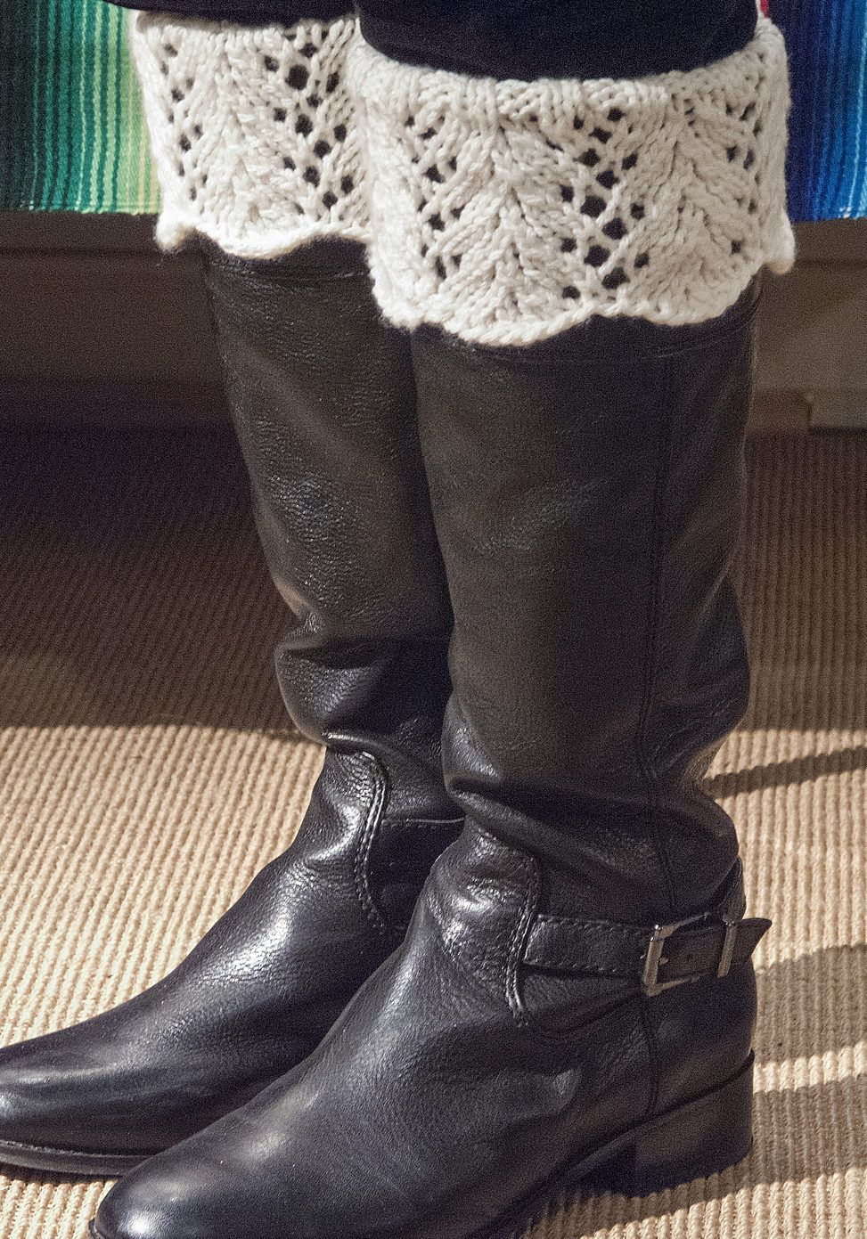 Free Knitting Pattern for Feather Lace Boot Toppers - A ribbed tube ...