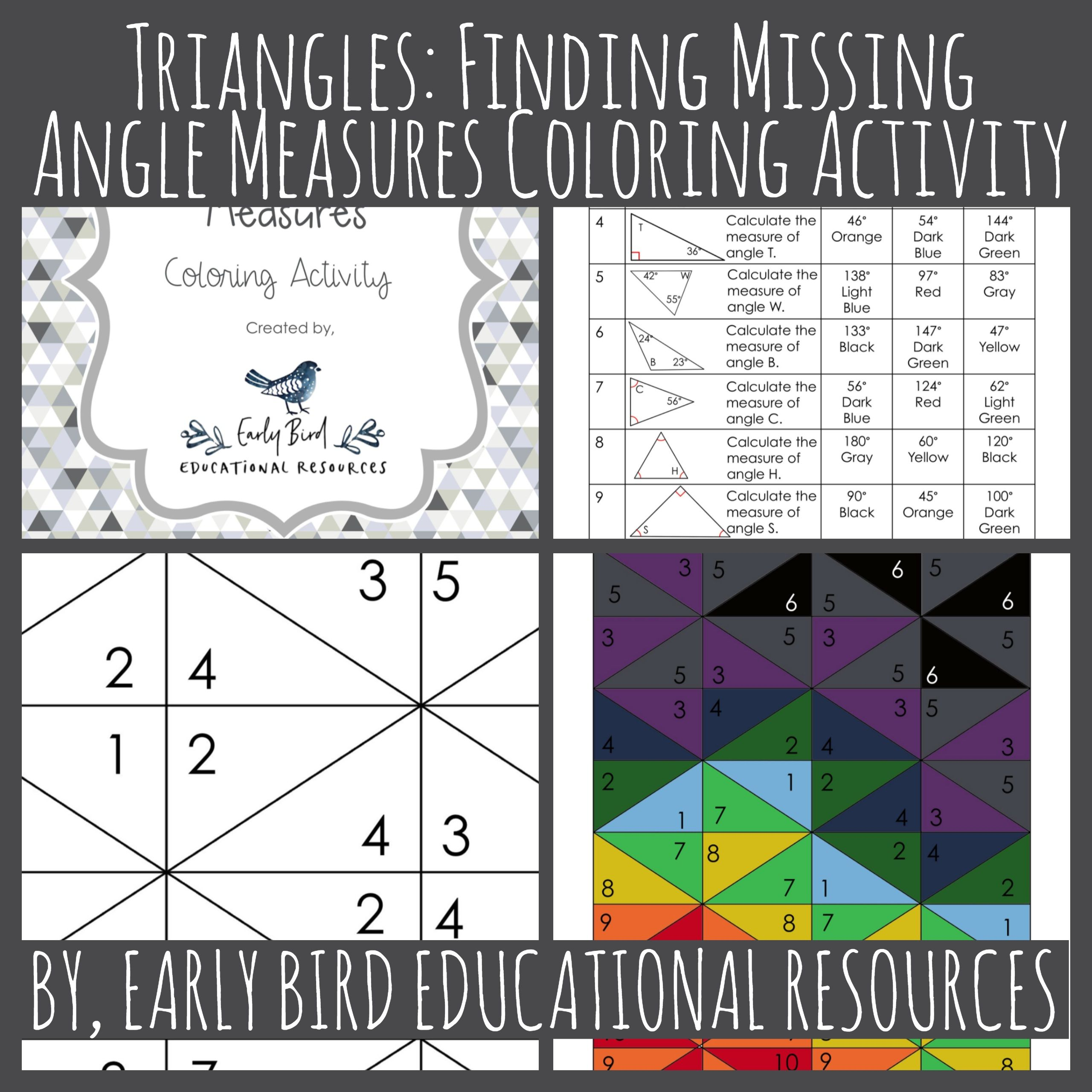 Triangles Finding Missing Angle Measures Coloring Activity This Worksheet Is A Fun Way For Color Activities Teacher Created Resources Elementary Activities