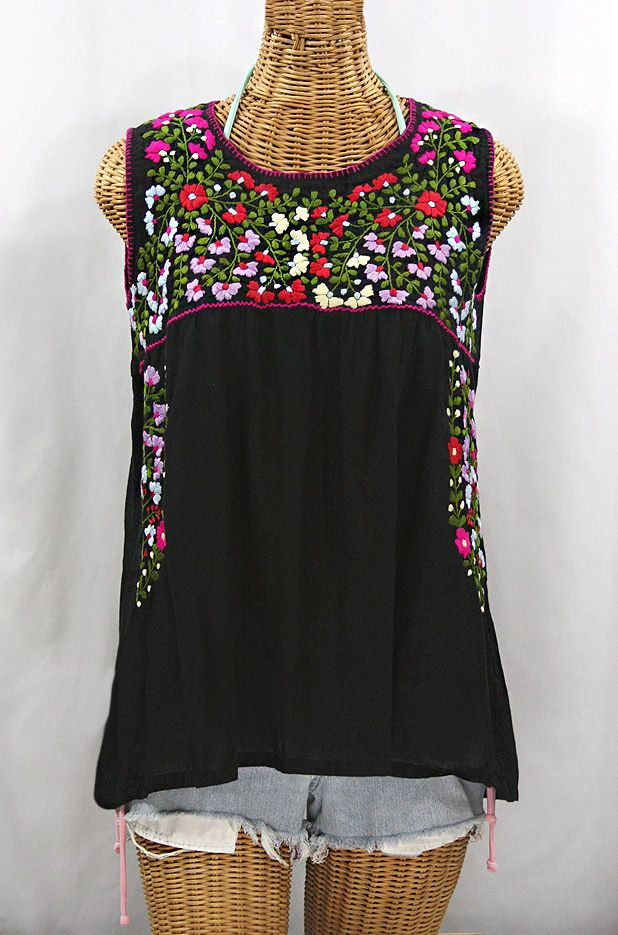 La Sirena Embroidered Mexican Style Peasant Top Black