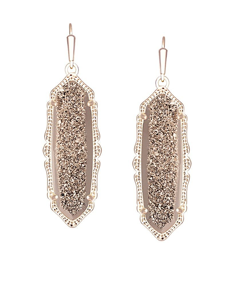 d59f5545c An dainty hint of rose gold and beautiful rose gold drusy, these Kendra  Scott earrings are perfect to add elegance to any fall outfit. French hook. 14k  rose ...