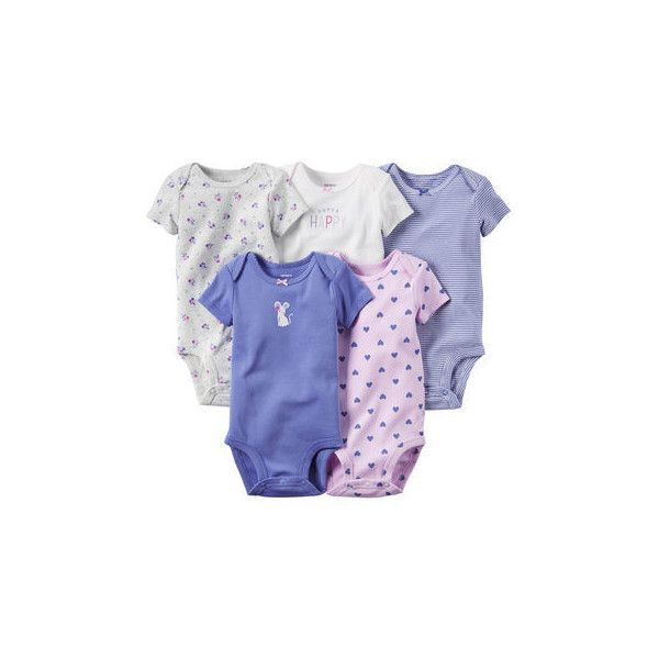 5-Pack Short-Sleeve Bodysuits (€14) ❤ liked on Polyvore featuring baby girl