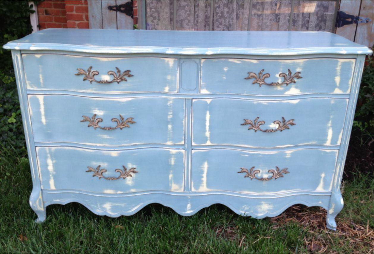 Best Vintage French Provincial Dresser Blue Gray Distressed 400 x 300