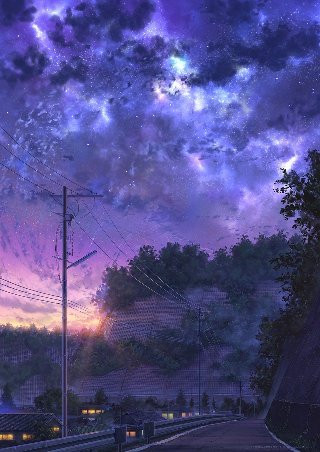 Anime sky art kawaii Wallpaper Sunset View night