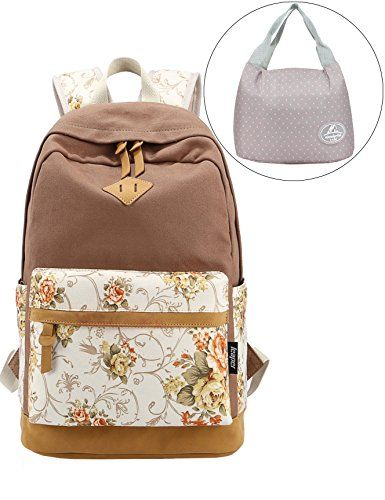 Leaper Casual Lightweight Canvas Laptop Backpack Travel School Bag and Cute Lunch Bag 2PCS Khaki ** AMAZON Great Sale