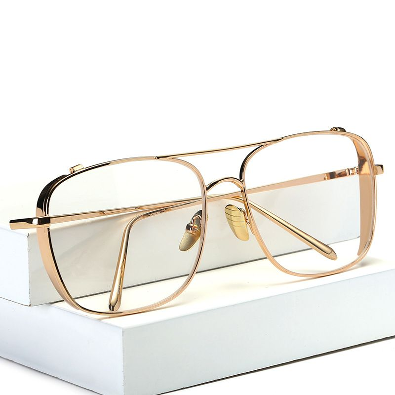 Square Oversized Vintage Clear Lens Prescription Glasses Gold Frame ...