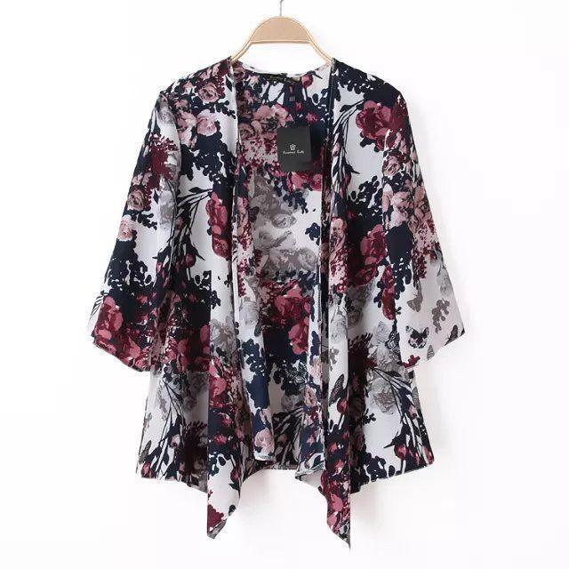 2016 Summer Print Women Kimono Cardigan Knitted Chiffon Blouse ...