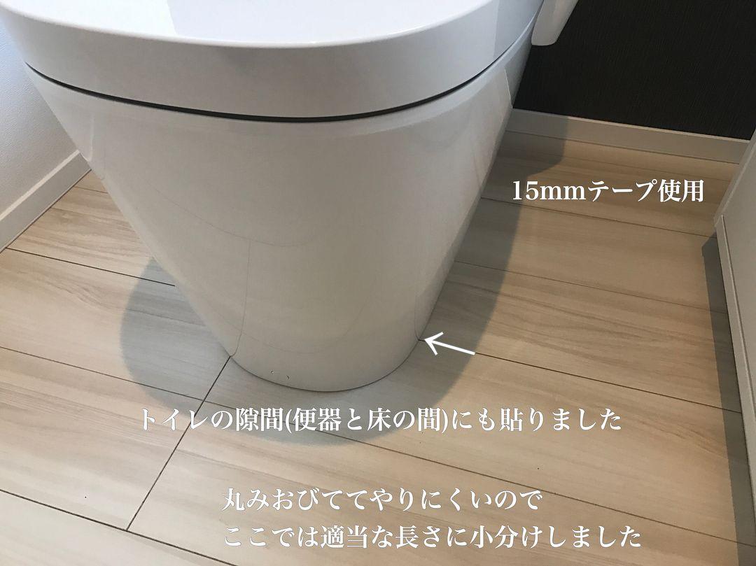 のん さんはinstagramを利用しています こんばん ᐛ パァ 引渡し後にすぐやったこと キッチンカップボード 洗面所 トイレの コーキング部分にマスキングテープ貼りました コーキング部分は ホコリや汚れがついてしまうと取