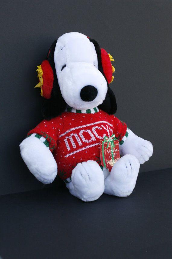Macys Snoopy Plush Woodstock Ear Muffs Vintage Snoopy Macys