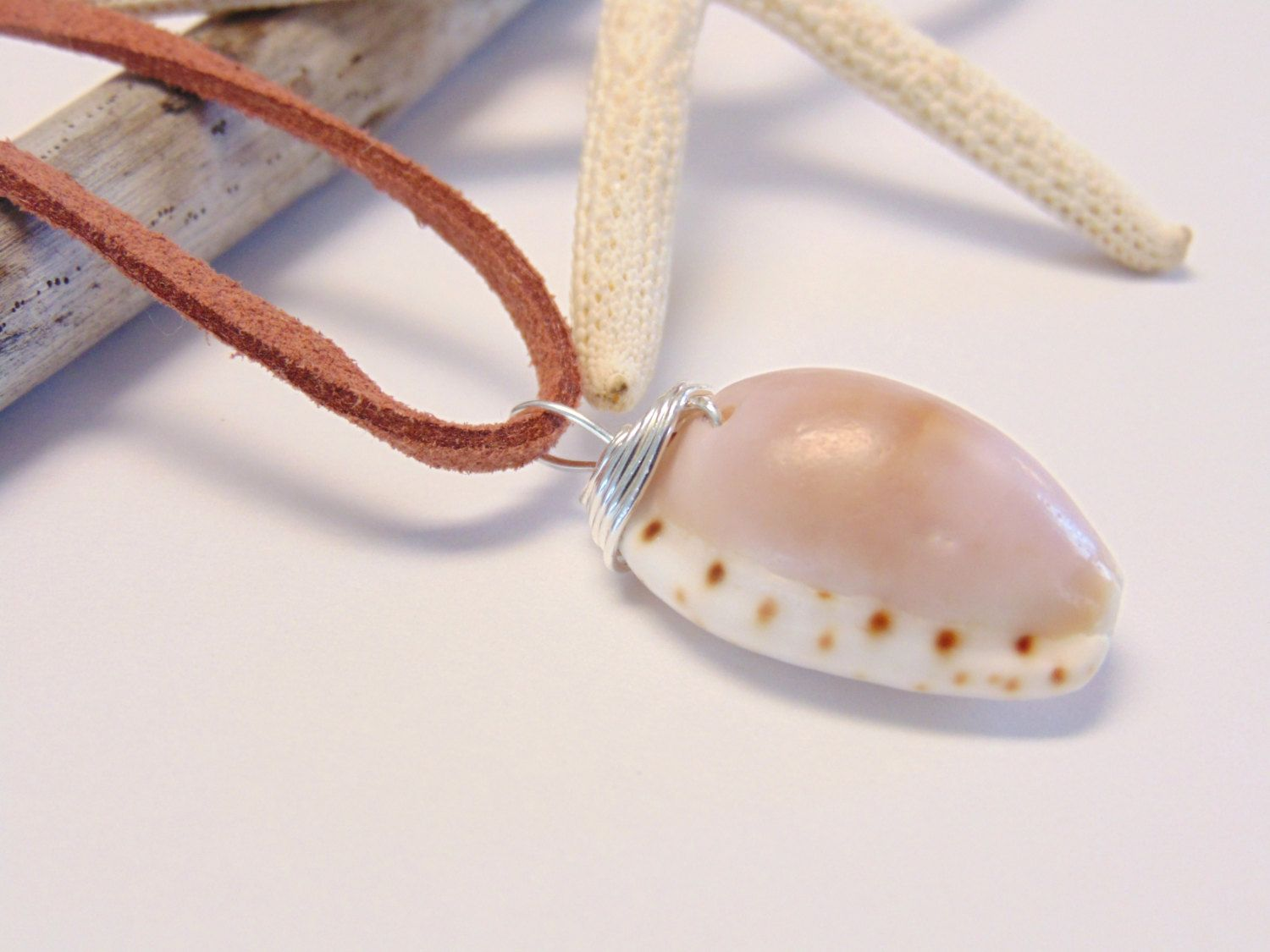 Cowrie Shell Necklace - Wire Wrapped - Pink Cowrie - Hawaiian Shell Jewelry - Suede - Long Necklace by AnabellasJewelry on Etsy