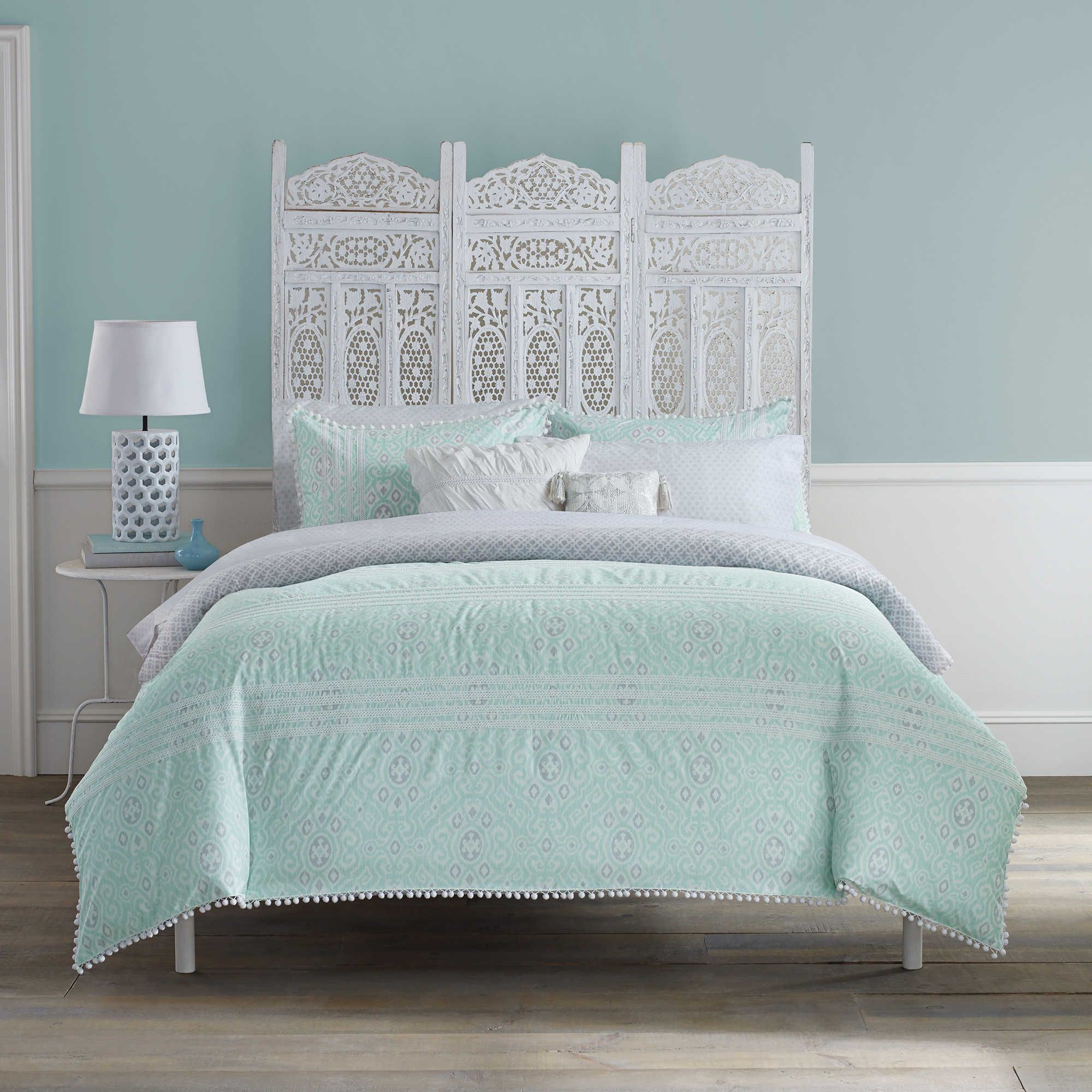 Anthology Moroccan Party Full 7 Piece Comforter Set In Mint Green