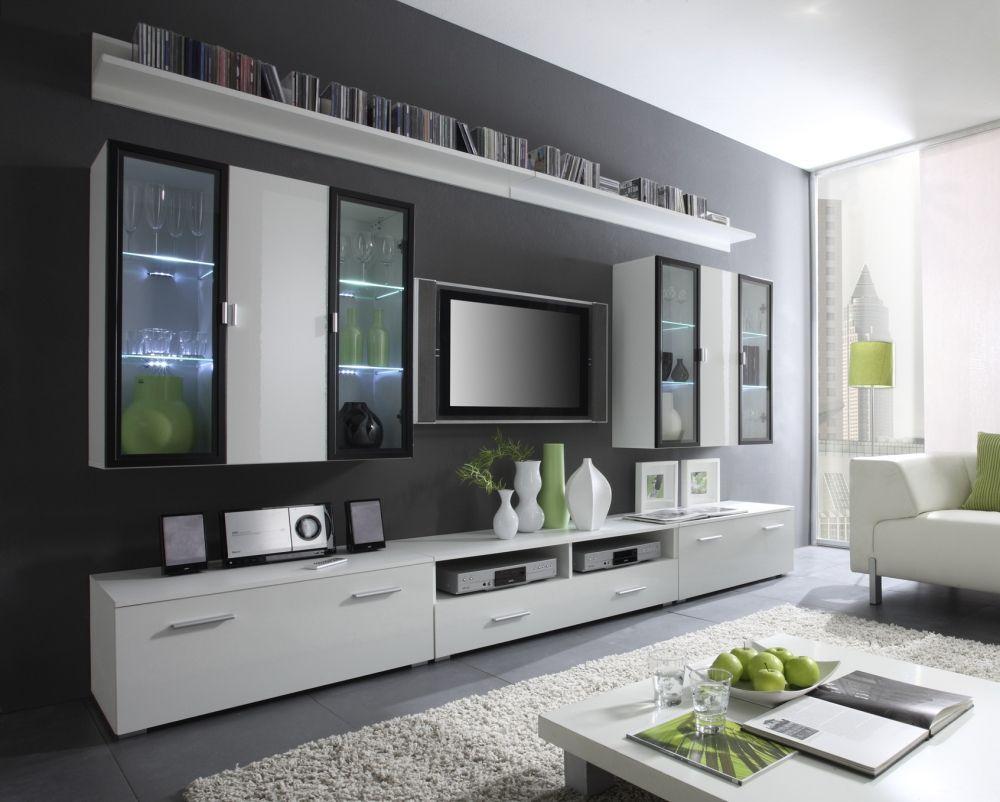 Wohnwand Vitrine Schrankwand Wohnzimmer Iceland 108647 . | Amazing ... Wohnzimmer Design Modern