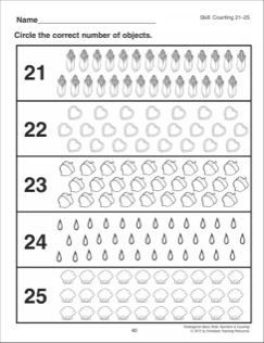 Counting 21 25 Kindergarten Basic Skills Numbers Counting