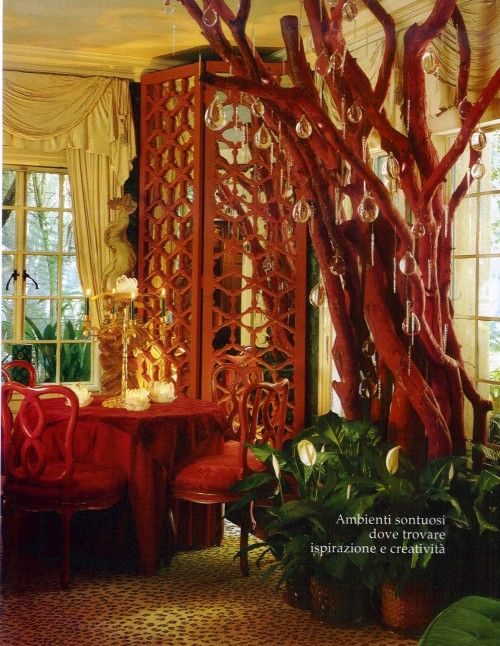 Tony Duquette Tony Duquette Architectural Digest December 2002 500x646 Bamboo Mirrors: Hollywood Regency Decorating