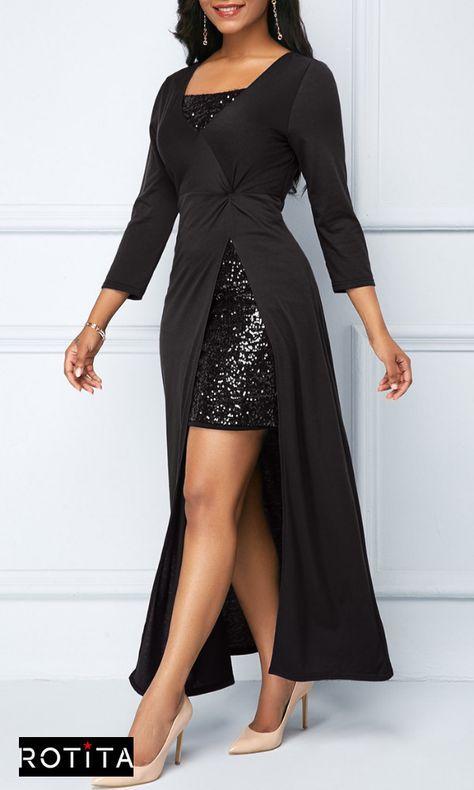 9e602df29 Sequin Embellished Mini Dress and Side Slit Black Dress .Stylish dress from  Rotita, black