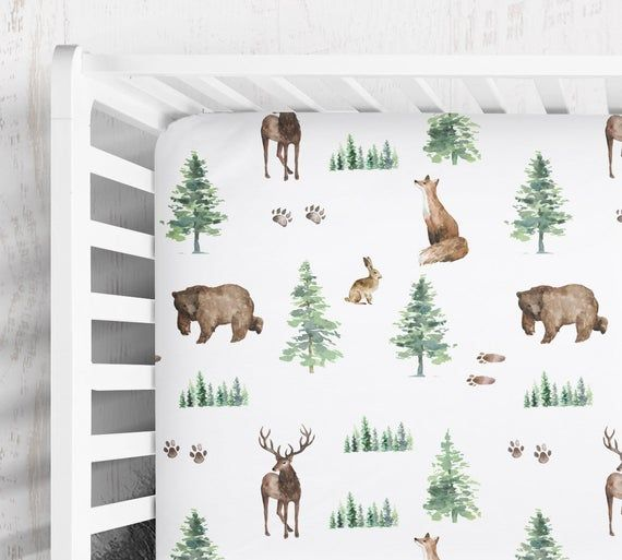 Photo of woodland nursery bedding, buck, bear, fox crib sheet, forest animals baby crib sheet, woodland nursery baby boy, pine trees woodland sheet