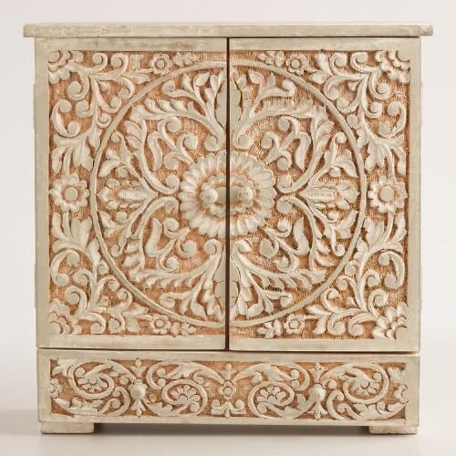 World Market Jewelry Box Entrancing One Of My Favorite Discoveries At Worldmarket Graywash Carved Decorating Inspiration