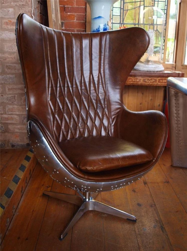 Aviation Aviator Brown Leather U0026 Aluminium Chair   Aeroplane   Stunning In  Antiques, Antique Furniture