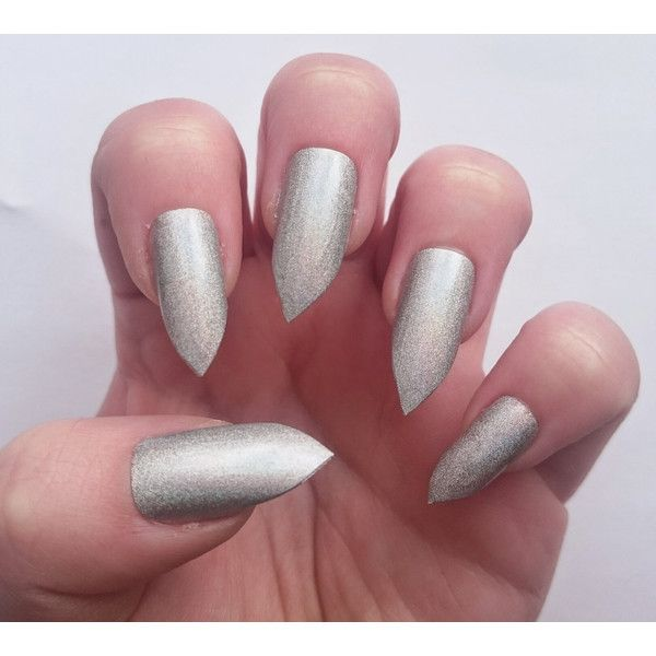 Simply beautiful Simple white nails with holographic