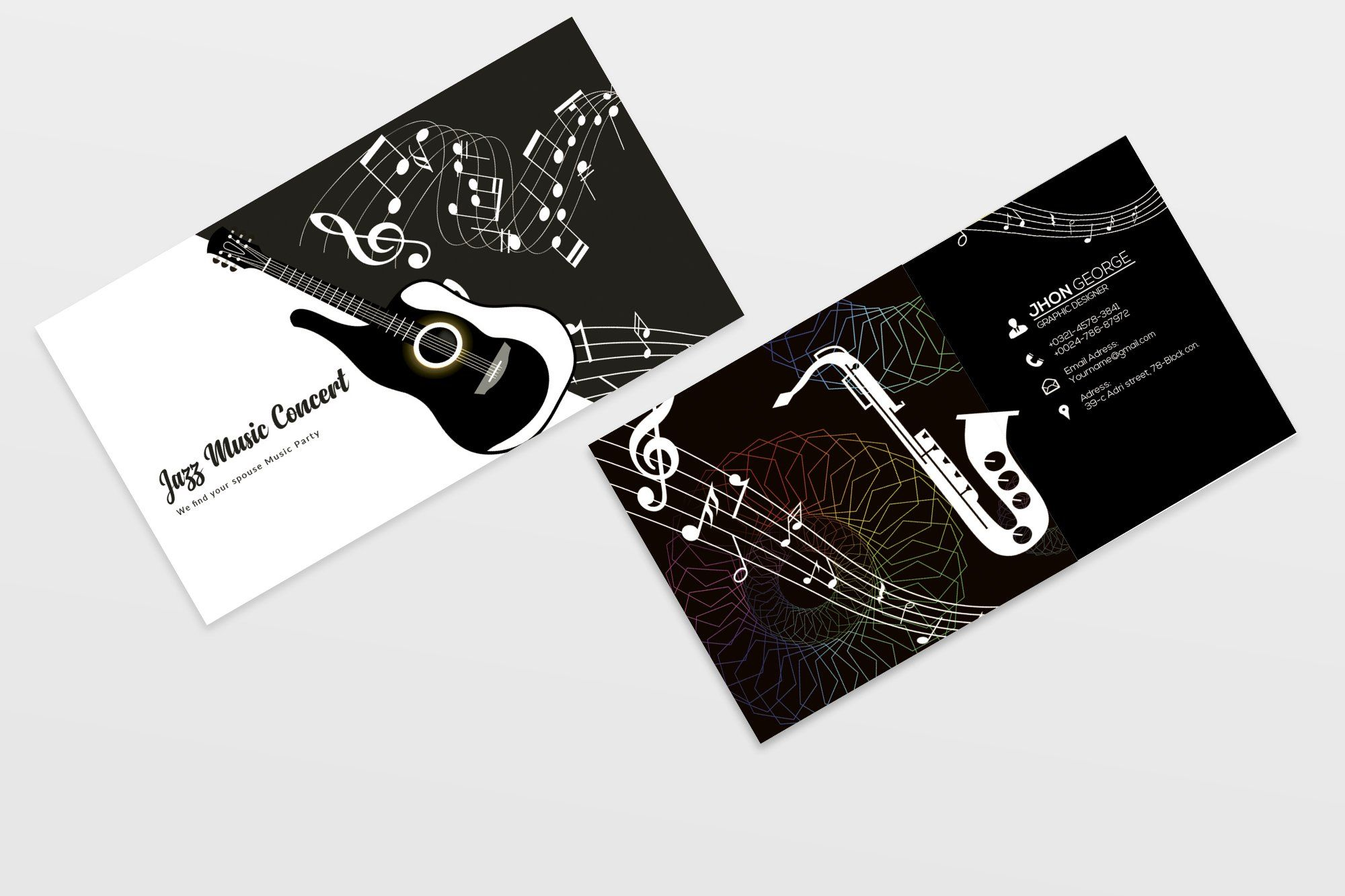 Jazz Music Business Card Template 07 In 2021 Music Business Cards Music Business Business Cards