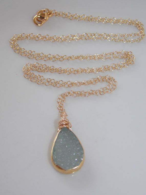 SALE Aqua Blue Druzy Necklace on a 24 inch Gold by MalieCreations, $50.00