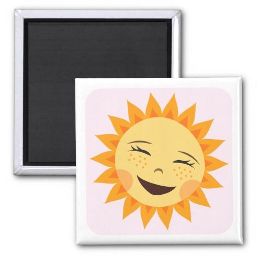 Super cute fridge magnet or locker magnet featuring a happy laughing sun on a pink square with rounded edges. White border.