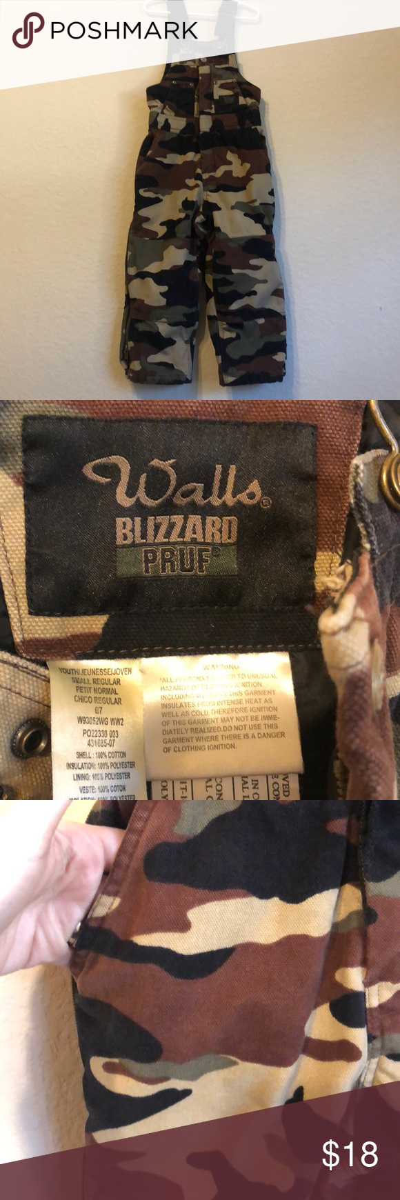 walls size youth 6 7 blizzard proof overalls camo in 2020 on walls hunting coveralls id=42143