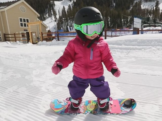 Pint Sized Snowboarder Shredding In Colorado Snowboarding Kids Snowboarding 17 Month Old