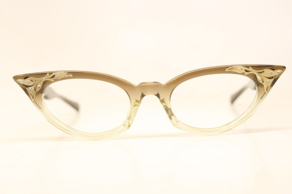 a8fc9abce8ff NOS Small Brown Fade Vintage Cat eye Glasses   Retro glasses love V ...