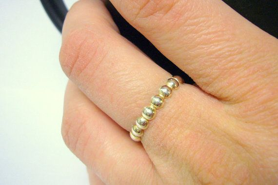 Beaded stackable ring Sterling silver stacking by WatchMeWorld, $22.00