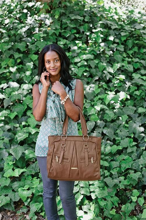 Timi And Leslie Dawn 7 Piece Diaper Bag Set Stylish Brown Tote Made Of Faux Leather Stylishdiaperbag
