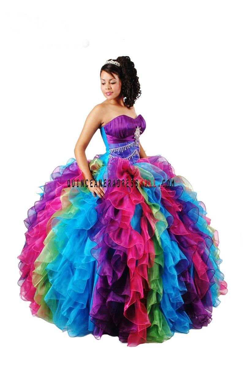Rainbow Sweet 16 Dresses