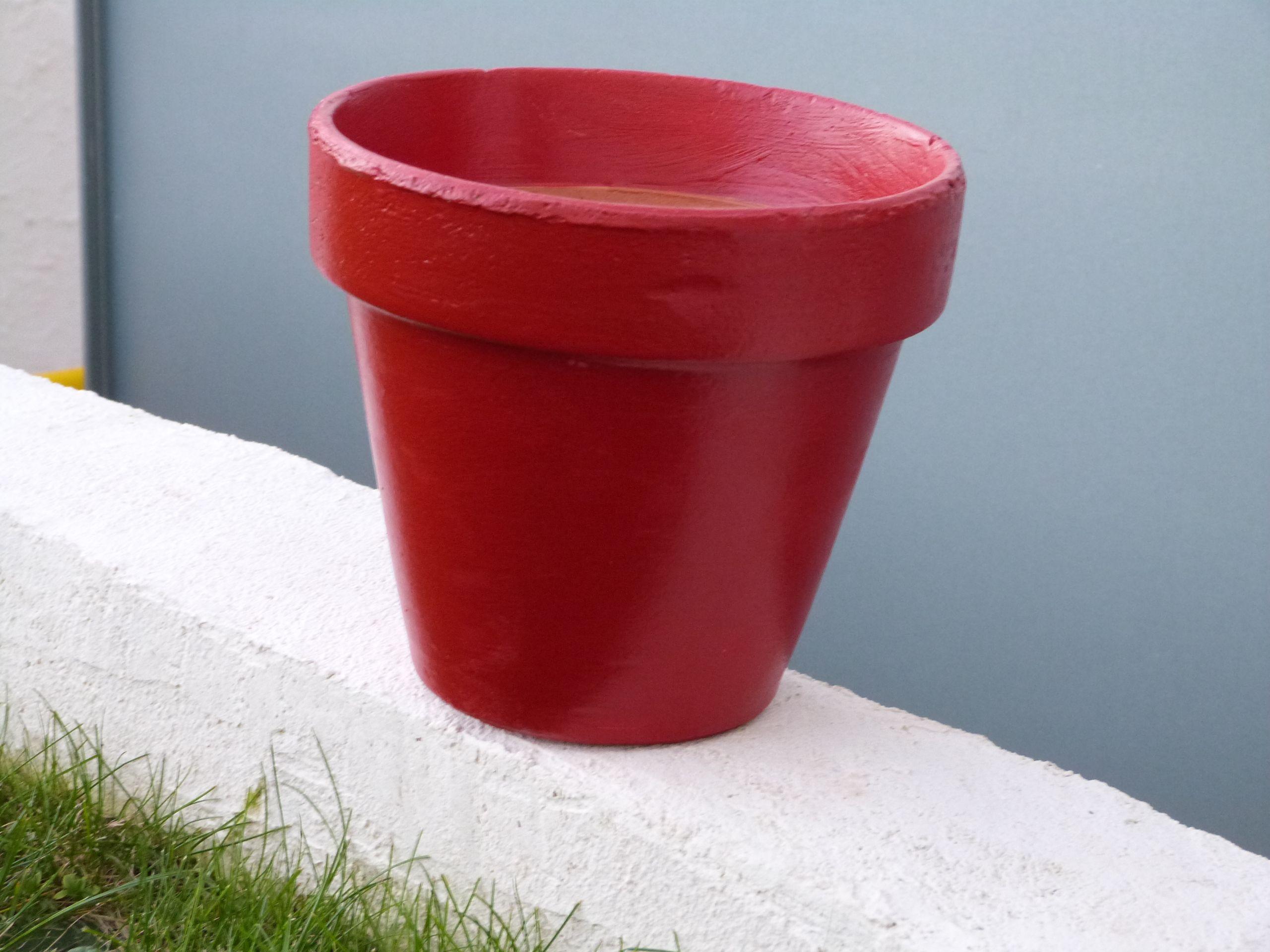 Pot en terre cuite relooké avec la peinture Passion Déco, rouge ...