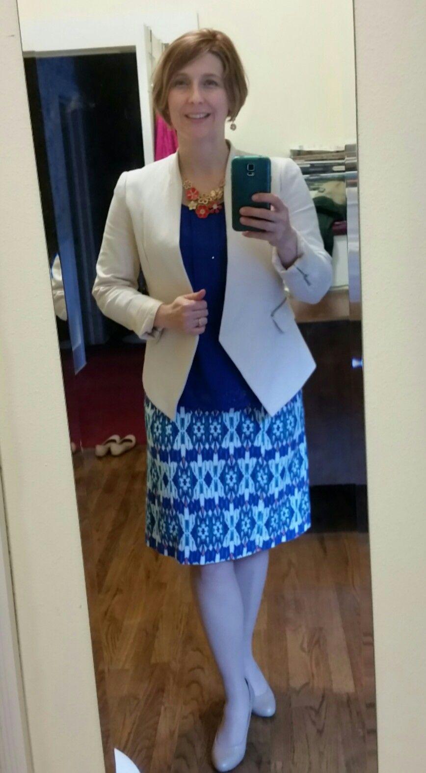 f438c6f91037 My May @stitchfix Fix: Market and Spruce Kessie knit faux wrap dress with  Pixley Tumara knit collarless blazer. Necklace from Ko…