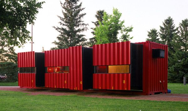 12 Homes Made From Shipping Containers: When traveling, the Mobile Dwelling Unit's, by Lot-EK, sub-volumes are pushed in to fill the entire container, and then interlock so the container is left flush and can be shipped worldwide. When in use, the sub-volumes are pushed out, and its 500-square-foot interior is suitable for living and working.