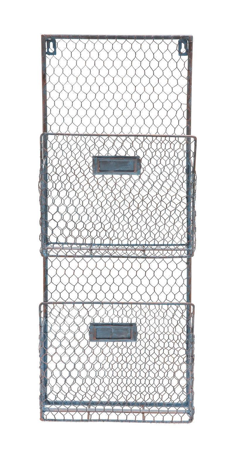 Gray Industrial Metal Wire Wall Basket 2 Pocket File Holder Office ...