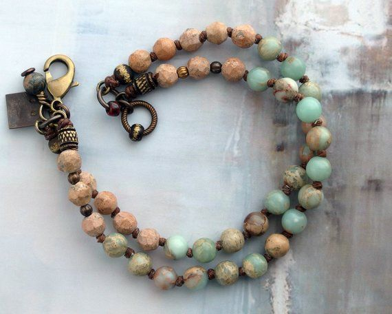 Photo of Rustic jasper bracelet, One of a kind aqua stone jewelry, Cowgirl gift, Boho friend present