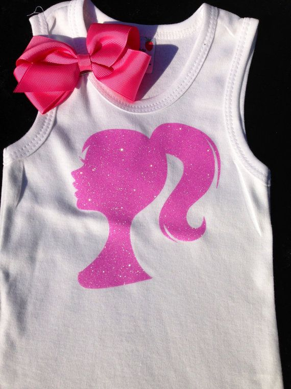 Girls Barbie Pink and White Shirt Great for by TheFancyButterfly ...